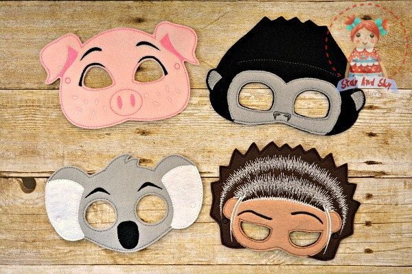 SING Movie Inspired Masks Ash Porcupine Rosita Pig Johnny Gorilla Buster Moon Koala Birthday Party Idea by StarAndSkyCreations on Etsy https://www.etsy.com/listing/487020414/sing-movie-inspired-masks-ash-porcupine