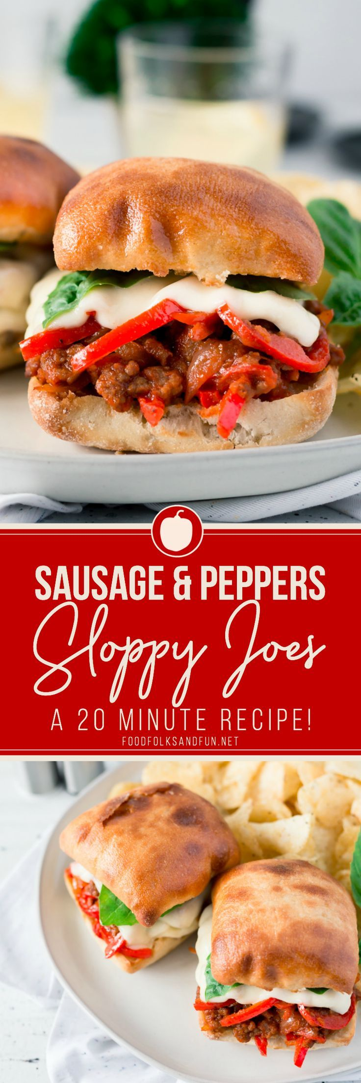 These Sausage and Peppers Sloppy Joes are some serious comfort food! They're super easy to make, all you'll need is just 25 minutes! | #easyrecipe #30minuterecipe #dinner #dinnerrecipe