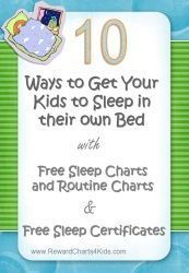 How to get your kids to sleep in their own bed with routine chart (before bedtime) and sleep chart