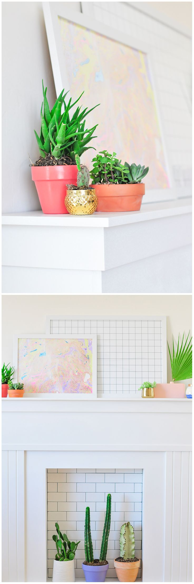 Build a faux fireplace made from tongue and groove pattern stock board and subway tile. It's an elegant mantel you can decorate all year long. Take it with you when you move! The Home Depot Blog has the step-by-step instructions.