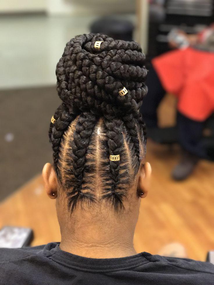 feed in braids #bun #braidedhairstyles
