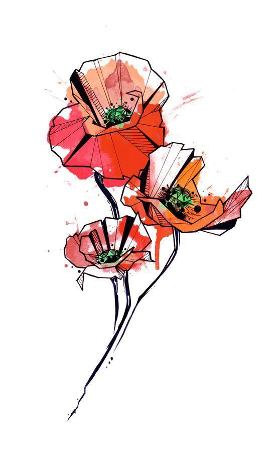 Geometric Watercolor Poppies Art Print