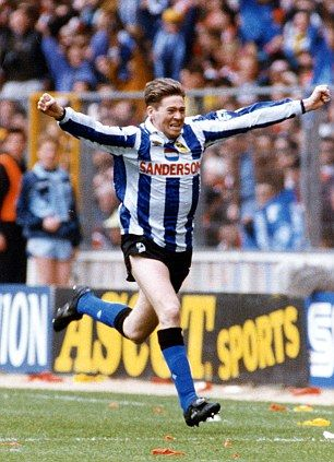 Legend: Chris Waddle shows off Sheffield Wednesday's classic kit