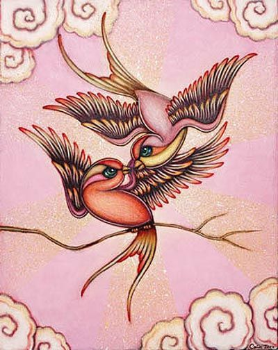 One of my favorite paintings ever. Love love birds. By Kaia Coopman