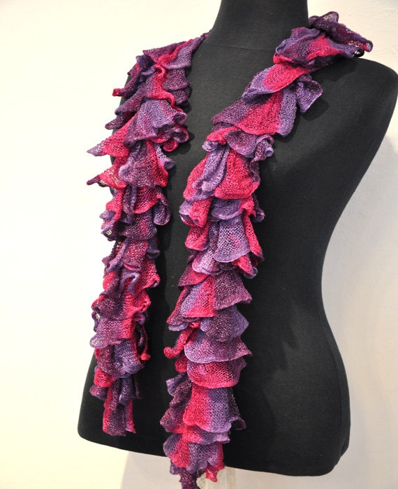 Big sale Knitted Ruffle Lacy Scarf Spring or by KnittingbyDOGAART, $12.00