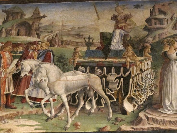 The chariot of the triumphant Minerva. Detail from March in Salone dei Mesi, Palazzo Schifanoia.