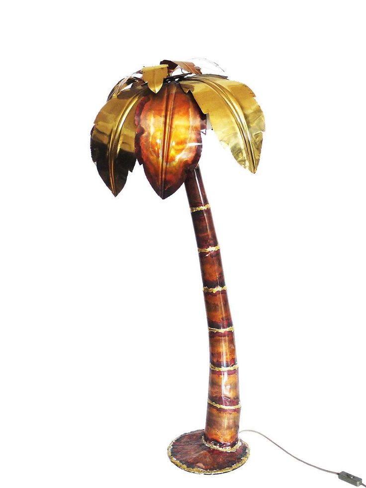 Brutalist Hollywood Regency Palm Tree Floor Lamp, 1970s | See more antique and modern Floor Lamps at https://www.1stdibs.com/furniture/lighting/floor-lamps