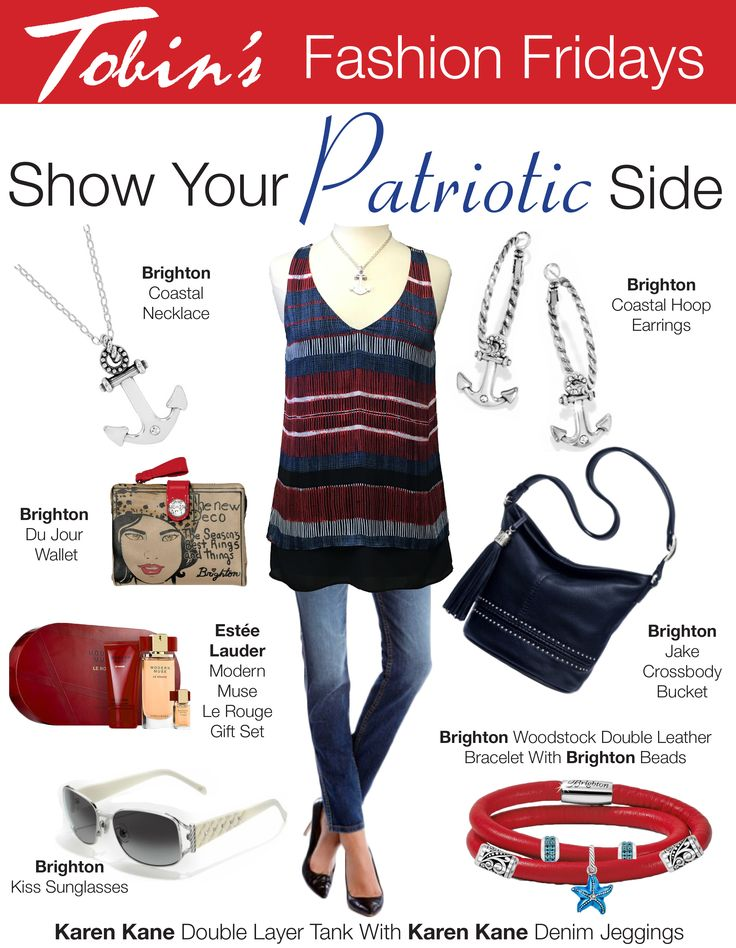 Features Karen Kane Double Layer Top and Karen Kane Denim Jeggings.   Accessories include the Brighton Jake Crossbody and Brighton Coastal Earrings and Coastal Necklace.  Find the entire outfit at Tobin's in Oconomowoc, WI.