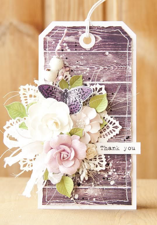 Gorgeous Tag by Olga using Prima Specialty flowers with Butterfly collection paper. #prima #tag #paper #crafting #flowers
