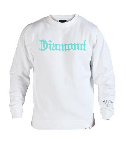 DIAMOND SUPPLY COMPANY MENS DIAMOND 4 LIFE CREWNECK SWEATSHIRT White