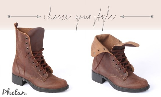 Brown leather military lace-up boots