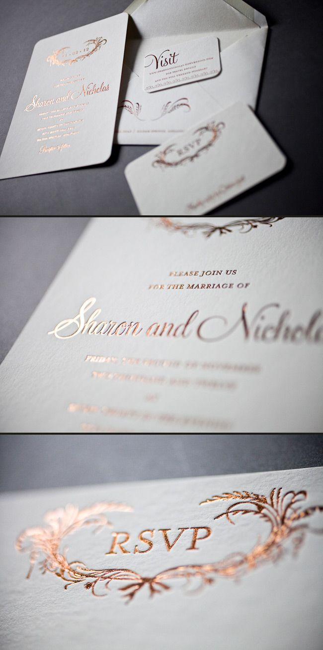 Elegant foil wedding invitations in copper shine
