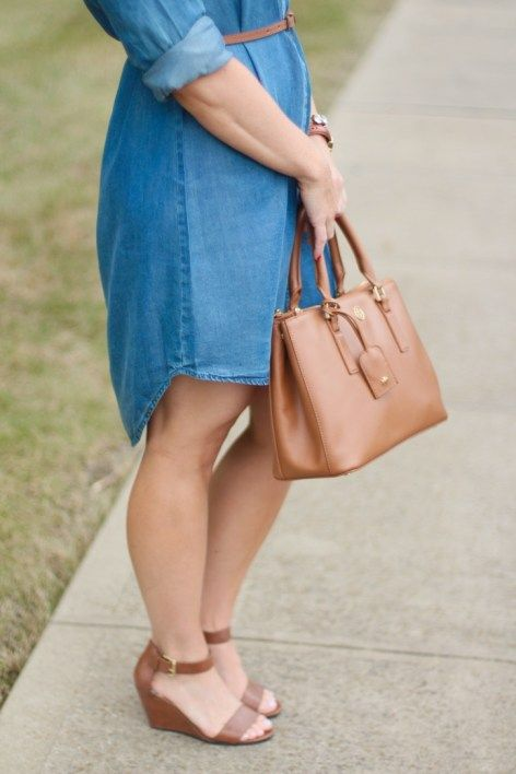 Target Style in The Iconic Chambray Shirt For Fall Paired with a Tory Burch Bag