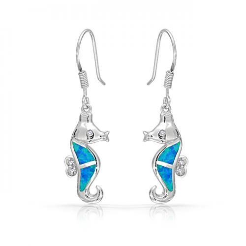 Bling Jewelry CZ Blue Opal Inlay Nautical Seahorse Dangle Earrings 925 Sterling