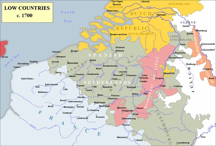 Spanish Netherlands (Spanish: Países Bajos españoles; Dutch: Spaanse Nederlanden) was the collective name of States of the Holy Roman Empire in the Low Countries, held in personal union by the Spanish Crown (Habsburg Spain) from 1581 to 1714. This region comprised most of modern Belgium and Luxembourg, as well as parts of northern France and Germany.