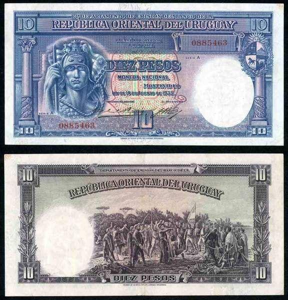 Law Of 1935 Republica Oriental Del Uruguay Series A 10 Pesos