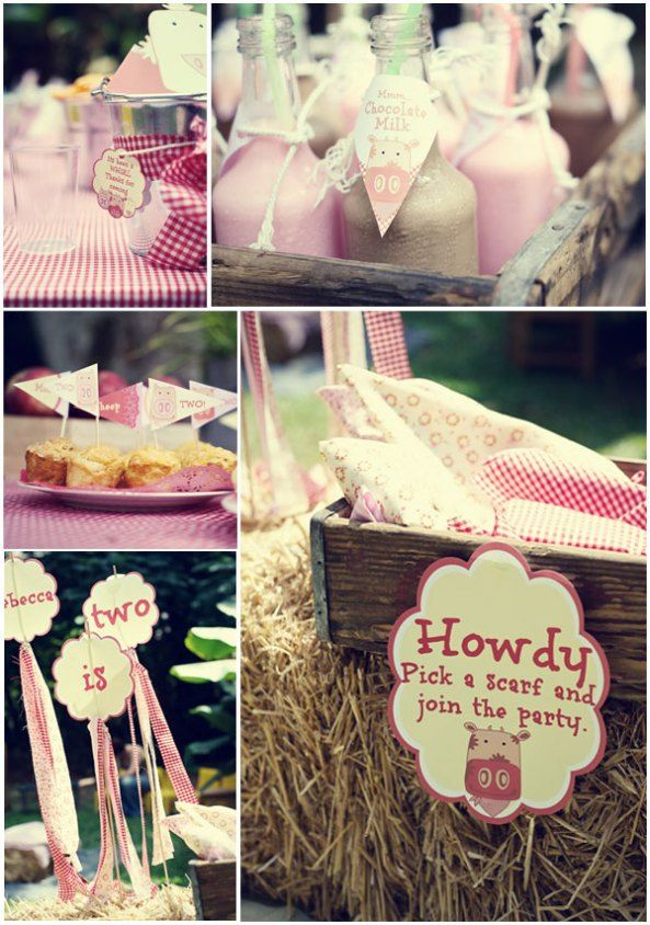 Farm  Birthday Party: Farms Birthday, Cowgirl Parties, Birthday Parties, Farms Parties, Scarfs Ideas, Cowgirl Birthday, Parties Ideas, 2Nd Birthday, Birthday Ideas