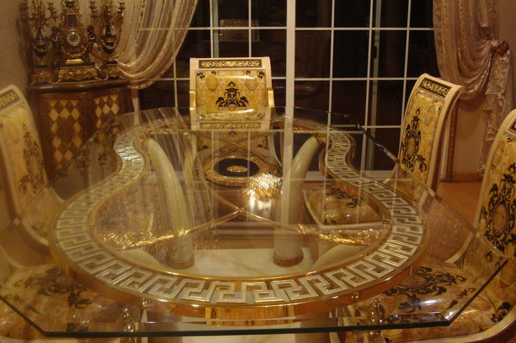 Italian Versace Dining Table Set W 6 Chairs 24k Gold