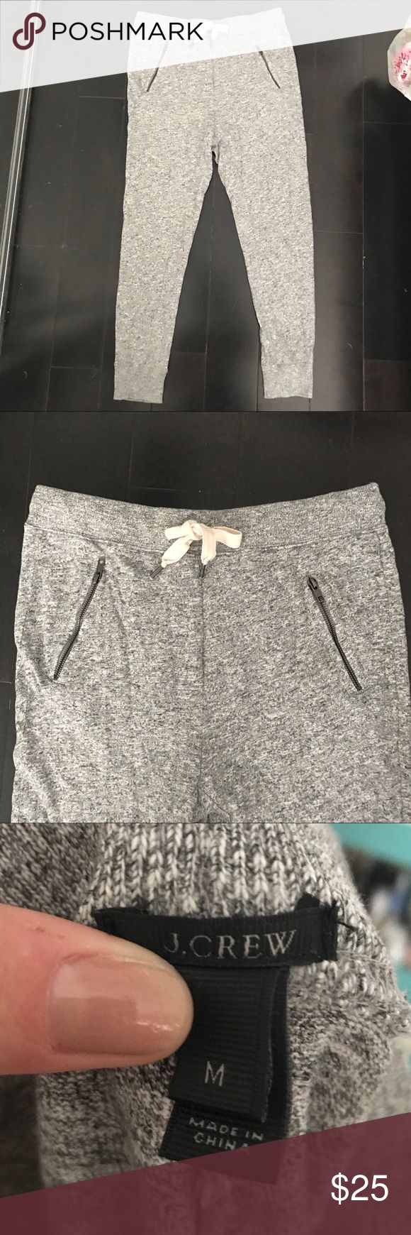 J Crew Gray Sweatpants Joggers with zipper detail So soft! Excellent condition. J Crew Heather Gray Sweatpants with zipper detail. Slight drop crotch look. J. Crew Pants Track Pants & Joggers