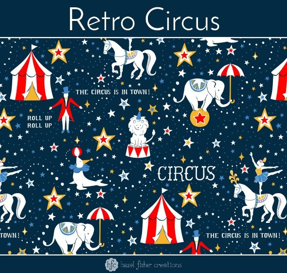 Retro Circus fabric design by Hazel Fisher Creations, Spoonflower, surface pattern design.  Entry to Spoonflower's Retro Circus Limited Colour Palette design challenge.