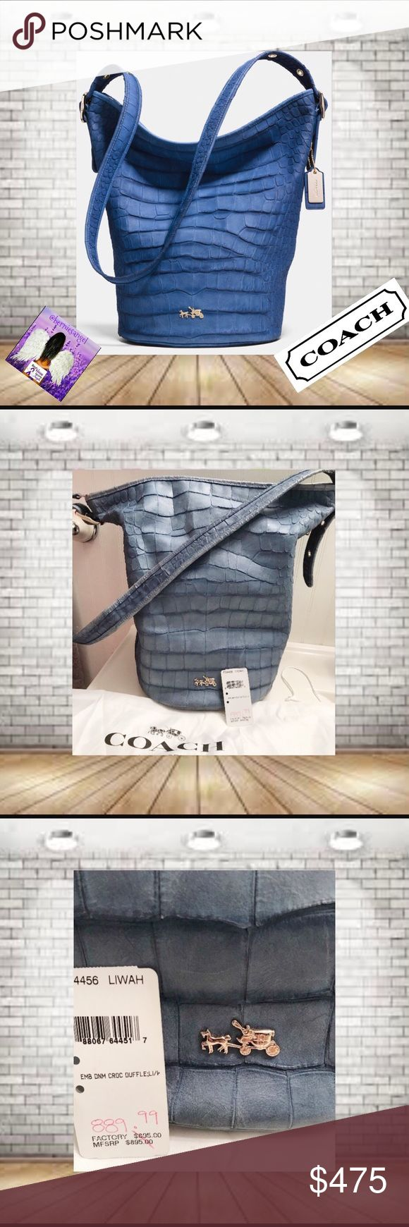 "Coach Croc Embossed Denim Duffle Shoulder Bag NWT Rare Bag December 2014 Pre-Spring Launch Of 2015 Collection. has minor Scratches from Being Displayed.  Flat leather 1.25"" wide handle, adjustable with buckles from 14"" to 22"" drop 2 multi-function slip pockets. zip pocket  Slouch Bag. Hang Tags was not released with the 2014 bags!! Bag has Silver Hang Tag Only. Color photos with light differently.  14.5"" L (top) x 10"" L (bottom) x 13.5"" H  x 9"" D. This bag will ""Weather & Distress"" it is…"