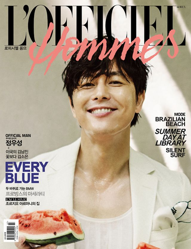 Jung Woo Sung is the cover boy of the July edition of L'Officiel Hommes Korea