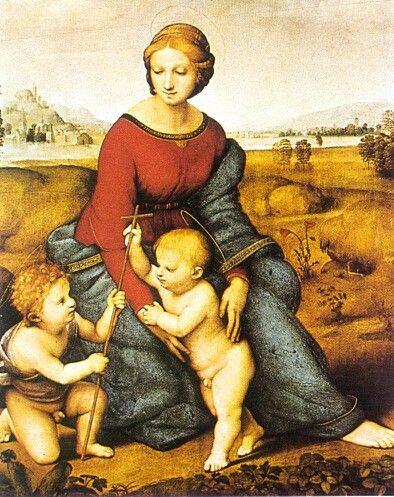Dit schilderij heeft een driehoeks compositie. De vrouw en haar 2 kinderen vormen samen een driehoek