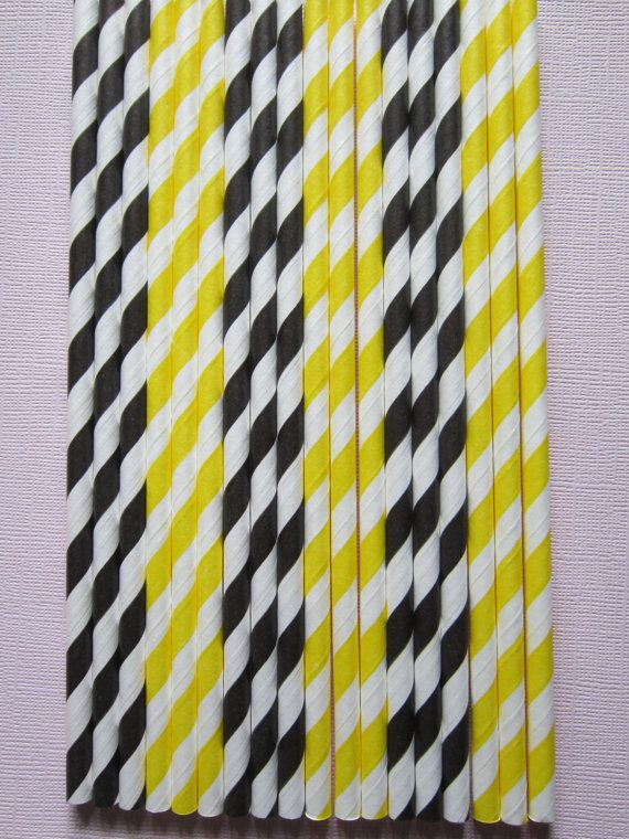 50 Black & Yellow Retro Vintage Striped Paper by DKDeleKtables