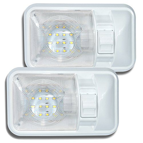 2 Pack 12V Led RV Ceiling Dome Light RV Interior Lighting for Trailer Camper with Switch, Single Dome 280LM. For product info go to:  https://www.caraccessoriesonlinemarket.com/2-pack-12v-led-rv-ceiling-dome-light-rv-interior-lighting-for-trailer-camper-with-switch-single-dome-280lm/