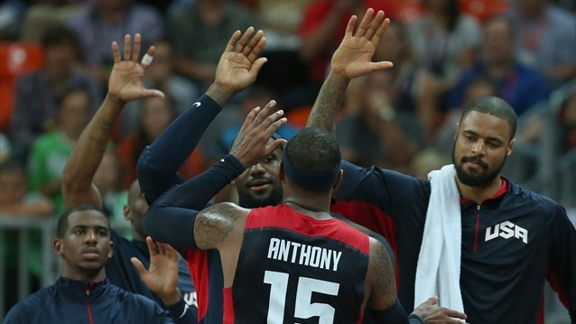 Team USA celebrates after beating Tunisia - Day 4 - Men's Basketball Preliminary Round