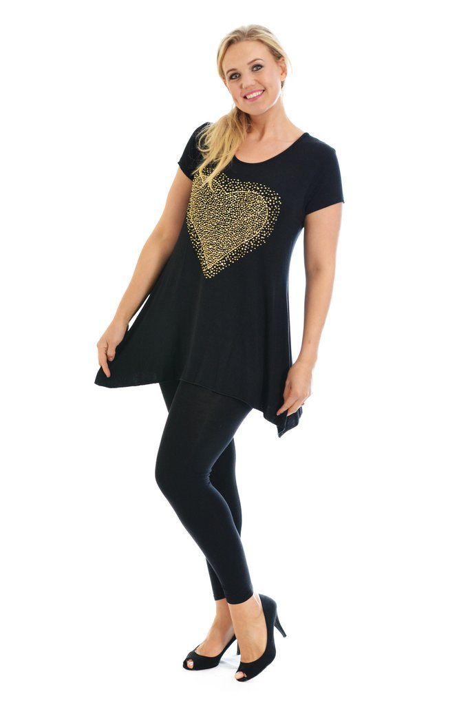 Sweet Gold Studded Heart Tunic Plus Size Top - Black