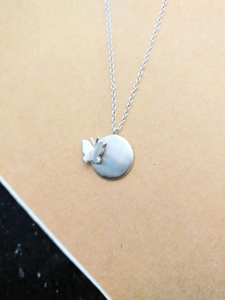925 Sterling Silver Resting Butterfly necklace by ThoughtsAccessories on Etsy