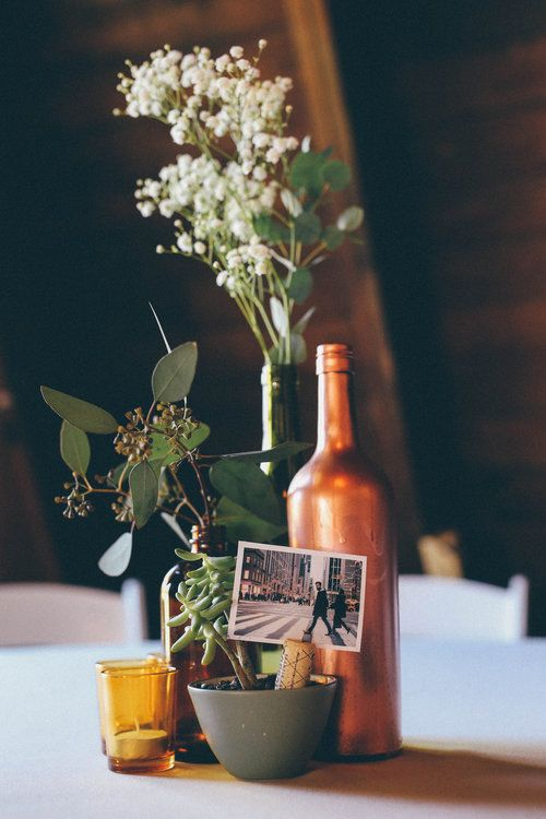 The Day We Wed  Marry  Gold wedding centerpieces