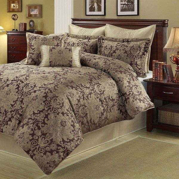 Ethel 8 piece king comforter set 120 liked on polyvore for King shams on queen bed