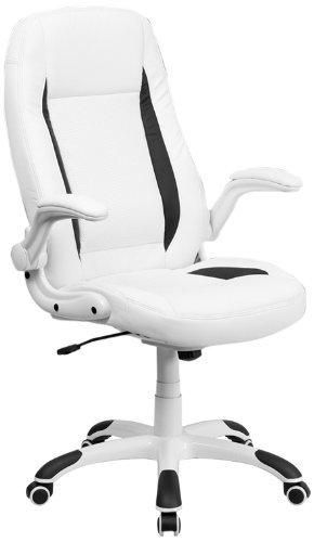 High Back White Leather Executive Swivel Office Chair with Flip-Up Arms