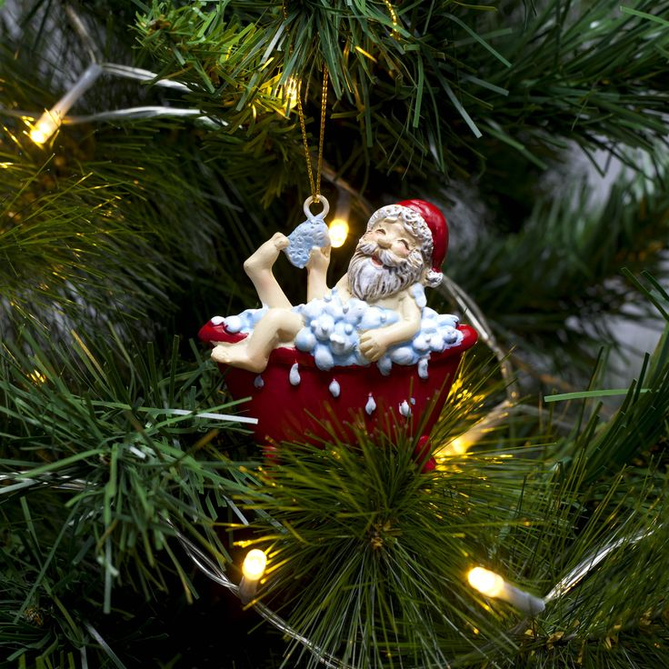 Funny Christmas Tree Decorations Part - 46: Funny Father Christmas In The Bath Christmas Tree Decoration