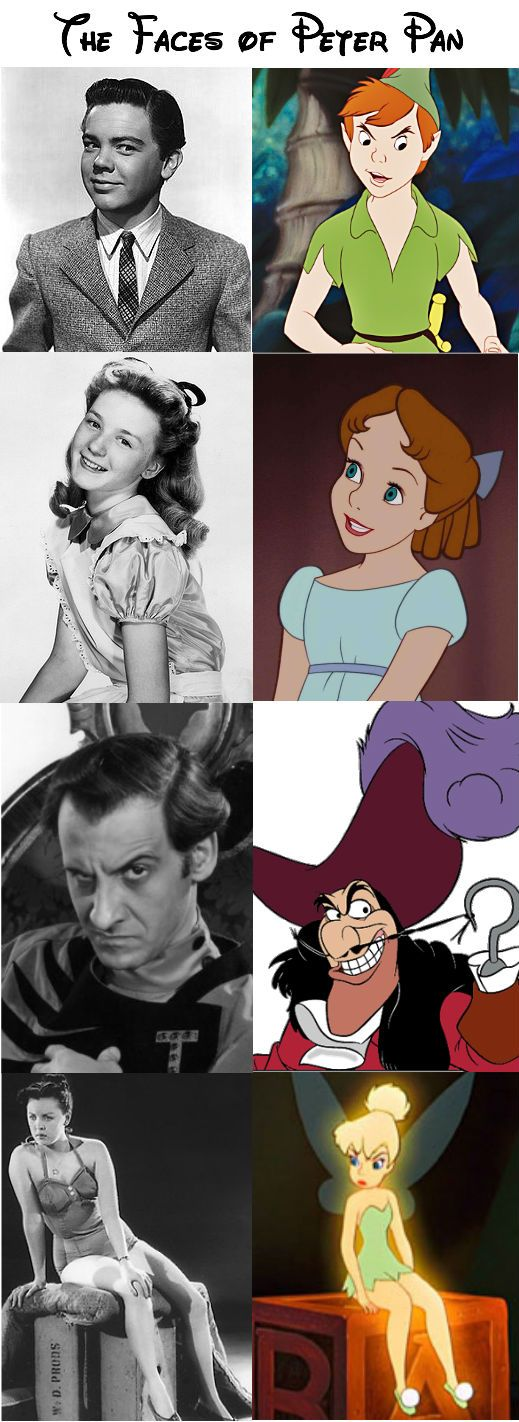 Peter Pan (Bobby Driscol), Wendy (Kathryn Beaumont), Hook (Hans Conried), and Tinkerbell | if you're interested, look up Bobby Driscoll and read his story. It's tragic.