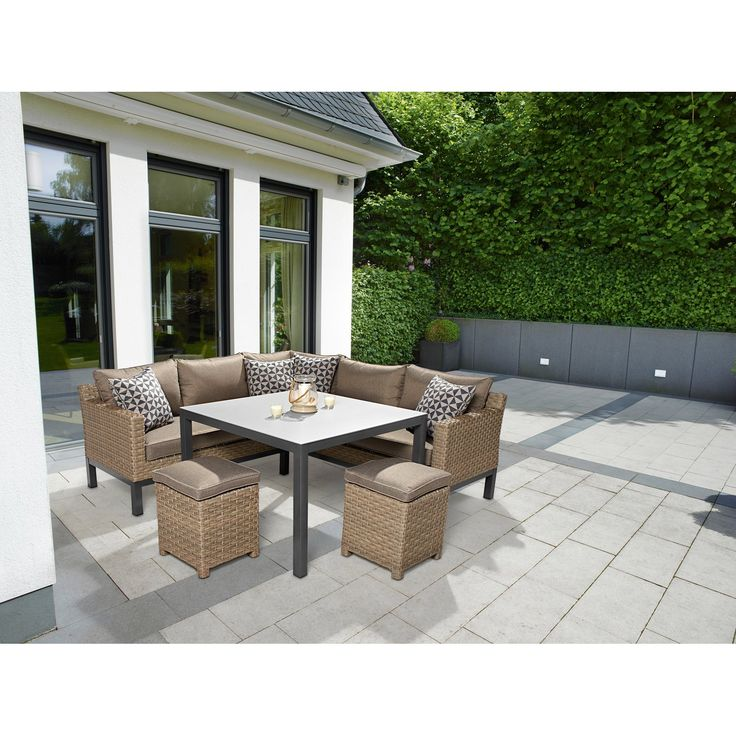 Lounge Set Mit Esstisch Brogan 5 Teilig Aus Polyrattan Kaufen Bei Obi Loungemobel Garten Lounge Mobel Lounge