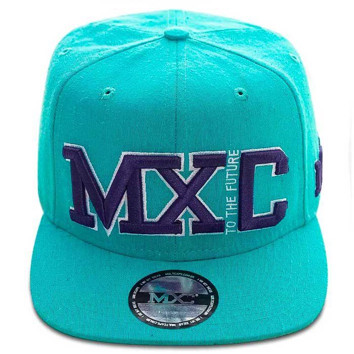 Boné Aba Reta 6 Gomos em poliéster, modelo Snapback marca MXC original, aba 8 costuras.