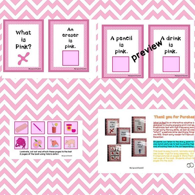What is Pink?What is Pink? An Interactive Adaptive Book by MySpeechTools on Teachers Pay Teachers  https://www.teacherspayteachers.com/Product/What-is-Pink-An-Interactive-Adaptive-Book-3004695