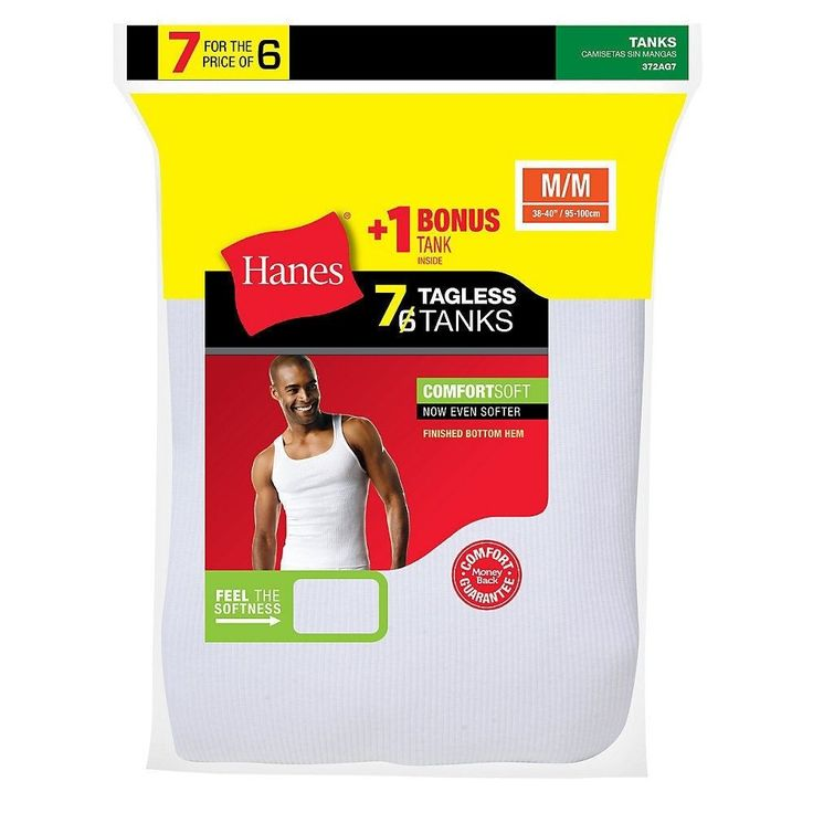 7-Pack Hanes Men's TAGLESS ComfortSoft A-Shirt White Wife Beater - Size S-XL #Hanes #BasicTee