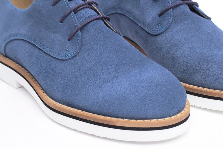 miMaO Blucher Insta Denim – zapato mujer plano cómodo azul piel ante - Comfort women's flat derby oxford shoes blue jeans suede leather