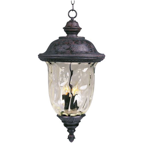 Carriage House Oriental Bronze Three Light Outdoor Pendant With Water Glass Maxim Lighting