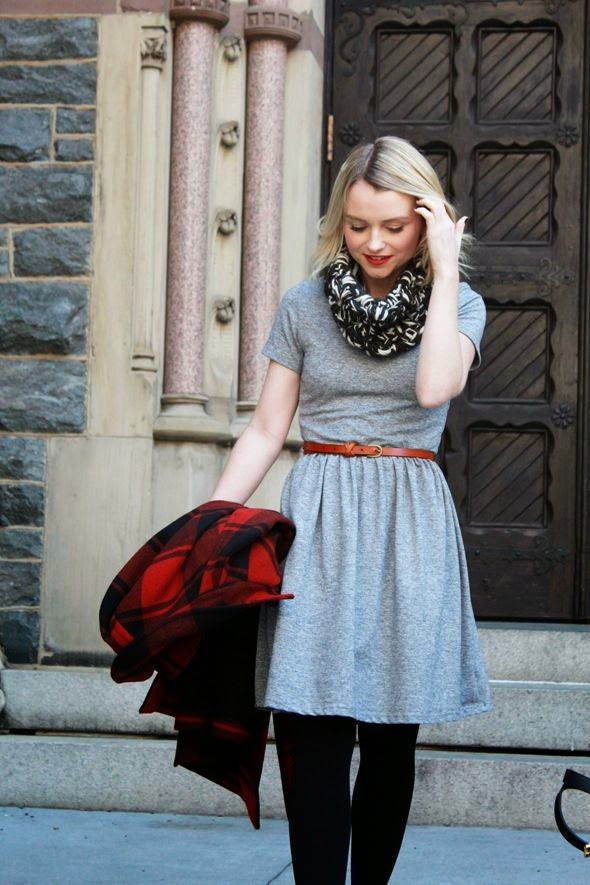 Lovely grey stylish mini dress with black legging and brown leather belt and cute scarf the perfect grey outfits