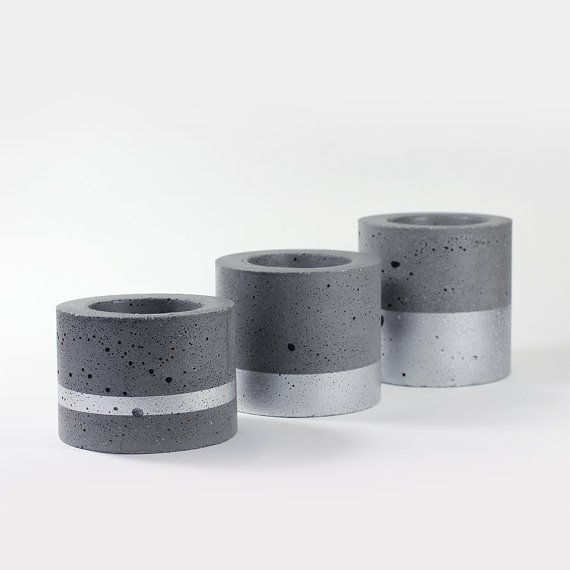 Trio of pots for mini plants in dark grey concrete - silver painting - hand made
