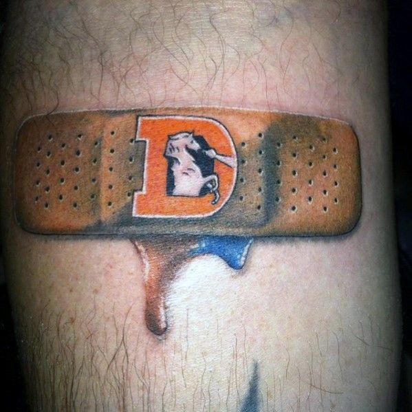 Bandaid Denver Broncos Guys Football Themed Small Tattoo On Leg