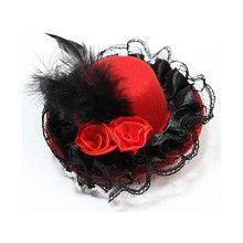 Mini hoedje met roosjes, kant en veer haar accessoire op haarclip rood/zwart - Vintage Burlesque