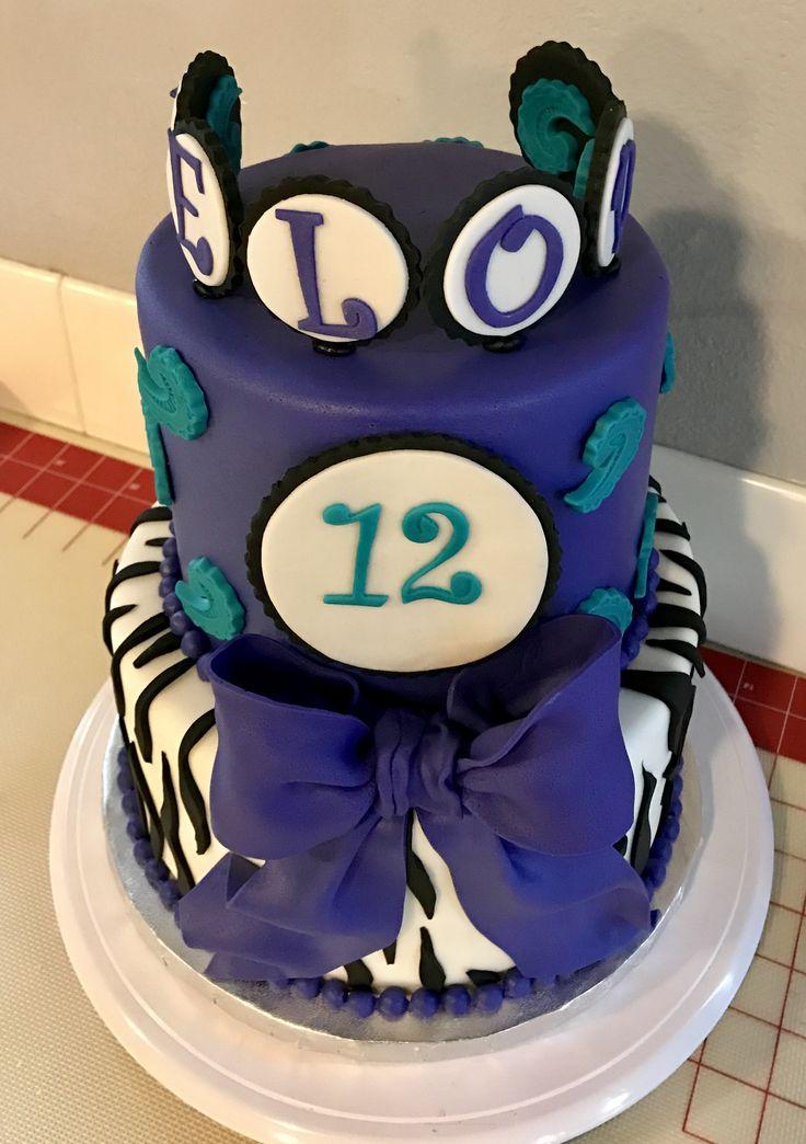 Purple Zebra Themed birthday cake! Created by: Tabitha Rodriguez of Tabi's Custom Creations!