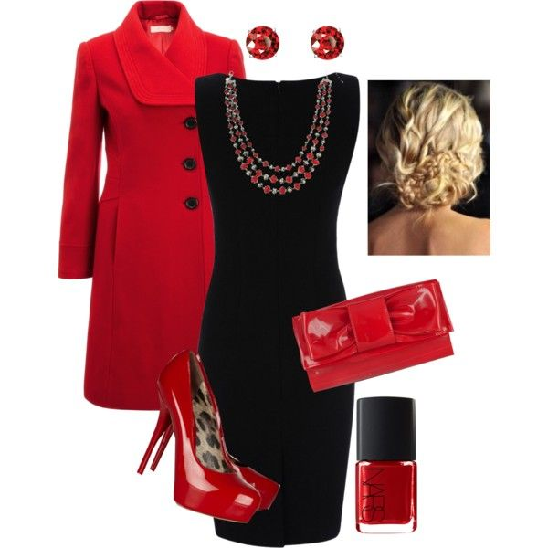 A fashion look from October 2012 featuring little black dress, wool coat and red shoes. Browse and shop related looks.