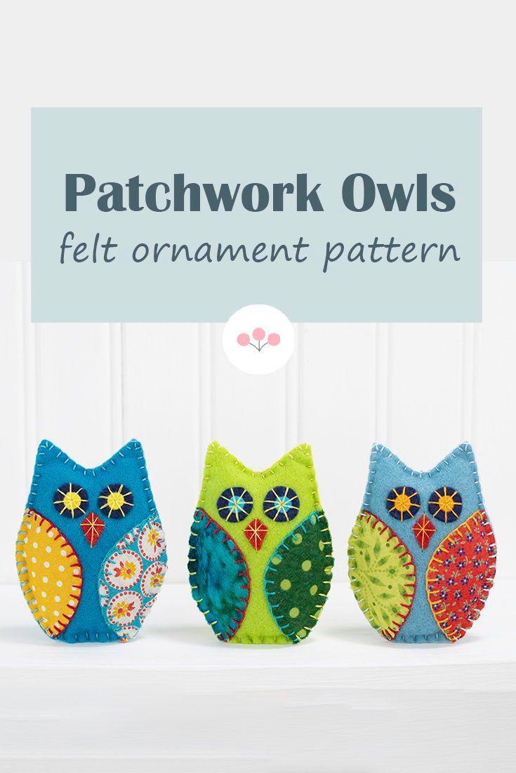 Felt Owl Ornament Pdf Sewing Pattern Felt Ornaments Patterns Felt Ornaments Diy Owl Sewing Patterns